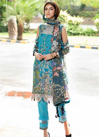Amal by Motifz Embroidered Lawn Unstitched 3 Piece Suit AMT20F 2598 Blue Sapphi…