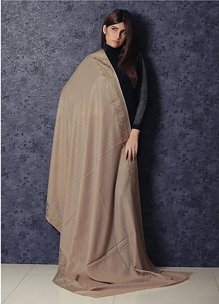 Sanaulla Exclusive Range Embroidered Pashmina Shawl 19-AKP-53 Beige - Kashmir...