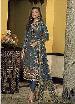 Asim Jofa Embroidered Lawn Unstitched 3 Piece Suit AJ20LL 9B - Luxury Collection
