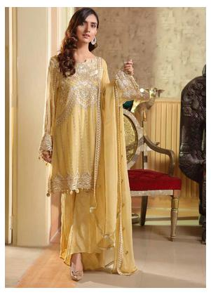 Motifz Embroidered Bemberg Chiffon Unstitched 3 Piece Suit MTF19-C4 2294 Golden Dust - Luxury Collection