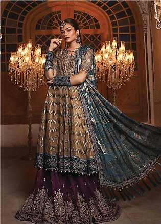 Maria B Embroidered Organza Unstitched 3 Piece Suit MB19HE 1702 - Eid Collection