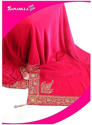 Pink Embroidered Velvet Shawls for women - SW 233