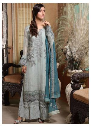 Motifz Embroidered Bemberg Chiffon Unstitched 3 Piece Suit MTF19-C4 2293 Fine Shadow - Luxury Collection