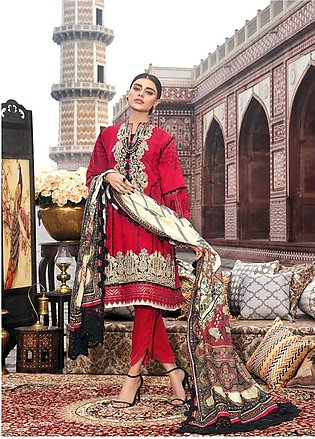 Asim Jofa Embroidered Lawn Unstitched 3 Piece Suit AJ20LL 1A - Luxury Collection