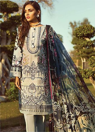 Jazmin by Baroque Embroidered Lawn Unstitched 3 Piece Suit JZ19L 10 ORIENTAL ...