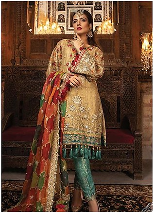 Maria B Embroidered Zari Net Unstitched 3 Piece Suit MB19HE 1707 - Eid Collec...