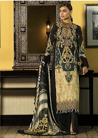 Asim Jofa Embroidered Lawn Unstitched 3 Piece Suit AJ20LL 10B - Luxury Collec...