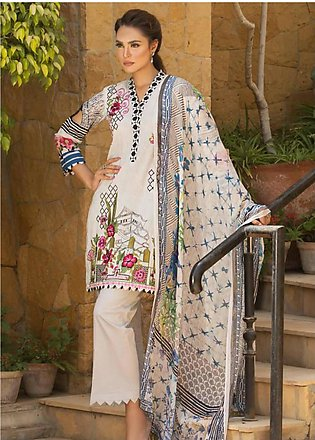Nadia Hussain Embroidered Lawn Unstitched 3 Piece Suit NH19L 07 - Spring / Su...