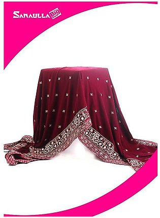 Maroon Embroidered Velvet Shawls for ladies - SWG 1005