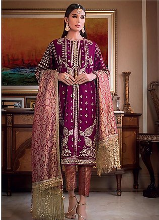 Gul Ahmed Embroidered Velvet Unstitched 3 Piece Suit GA19NC VLW 19 AQEEQ - Wi...