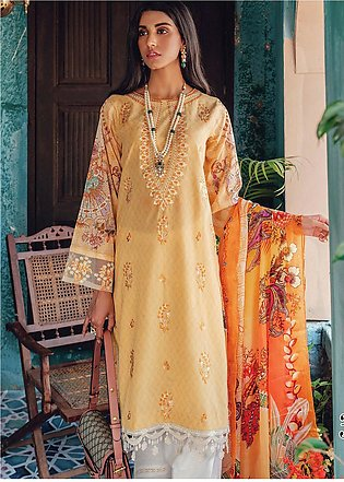 RajBari Embroidered Lawn Unstitched 3 Piece Suit RB20L 3-B - Luxury Collection