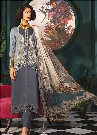 Maria B Embroidered Linen Unstitched 3 Piece Suit MBP19WE 703 A - Winter Coll...