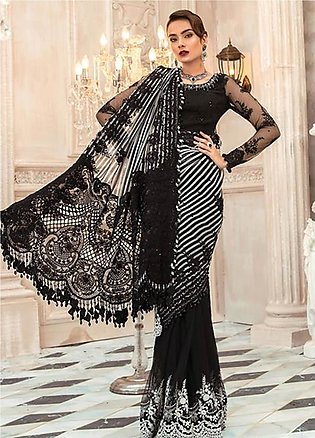 Maria B Embroidered Chiffon Unstitched Saree MR20M D 03 - Luxury Collection