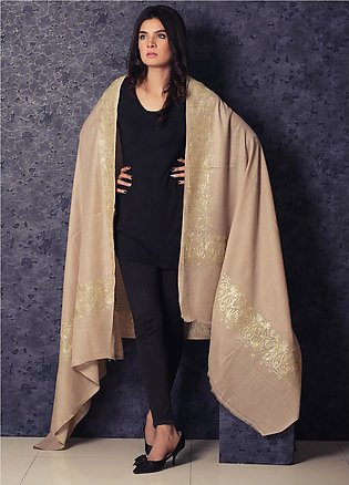 Sanaulla Exclusive Range Embroidered Pashmina Shawl 19-AKP-11 Fawn - Kashmiri...