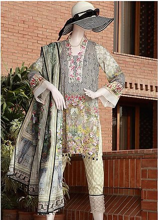 Saya Embroidered Lawn Unstitched 3 Piece Suit SY18F 1A - Festive Collection