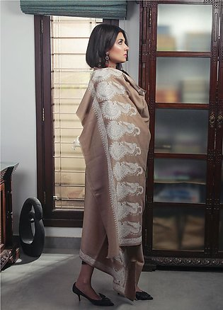 Sanaulla Exclusive Range Embroidered Pashmina Shawl 19-AKP-135 Brown & White ...