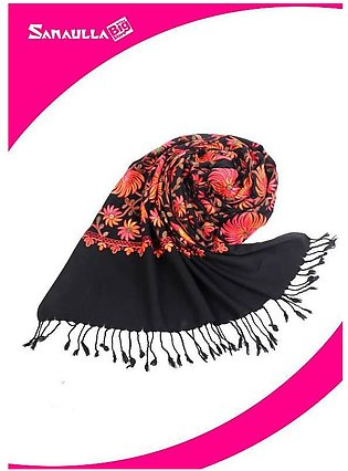Black Embroidered Pashmina Shawls for ladies - SW 217