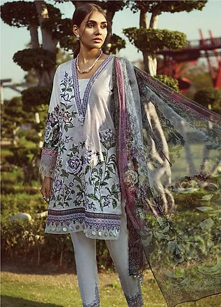 Jazmin by Baroque Embroidered Lawn Unstitched 3 Piece Suit JZ19L 08 PANSY - S...