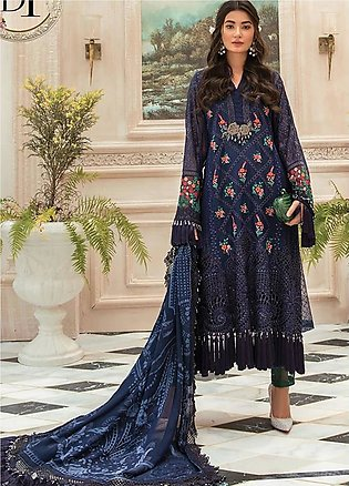 Maria B Embroidered Chiffon Unstitched 3 Piece Suit MR20M D 01 - Luxury Collect…