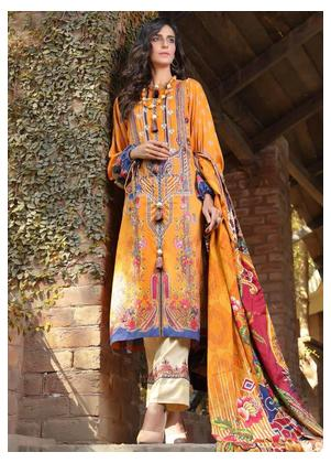 AMAL by Motifz Embroidered Linen Unstitched 3 Piece Suit AMT19LK 2402 Gold Clam - Winter Collection