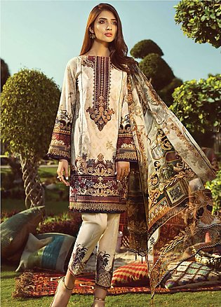 Jazmin by Baroque Embroidered Lawn Unstitched 3 Piece Suit JZ19L 09 TRIBAL GL...