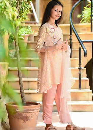 Ochre Net Fancy 3 Piece for Girls - OFK-734 Peach