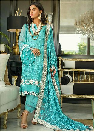 Mina Hasan Embroidered Chiffon Unstitched 3 Piece Suit MH20C 2 - Luxury Colle...