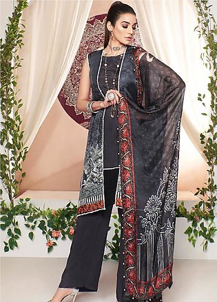 A-MEENAH Embroidered Charmeuse Silk Unstitched 3 Piece Suit AME20CS MAH-NOOSH...
