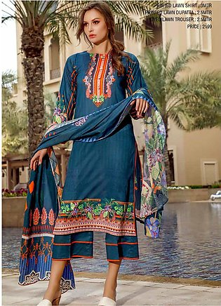 Ittehad Textiles Printed Lawn Unstitched 3 Piece Suit ITD20CS 48B - Summer Co...