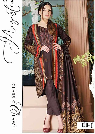 Five Star Printed Lawn Unstitched 3 Piece Suit FS20CL-1 1211C - Spring / Summ...