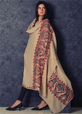 Sanaulla Exclusive Range Embroidered Pashmina Shawl 19-MIR-365 Fawn - Kashmir...