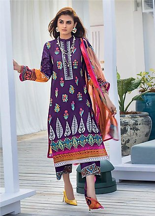Zainab Chottani Embroidered Lawn Unstitched 3 Piece Suit ZC20LL 5B - Luxury C...