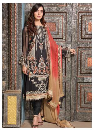 Motifz Embroidered Bemberg Chiffon Unstitched 3 Piece Suit MTF19-C4 2295 Blended Black - Luxury Collection