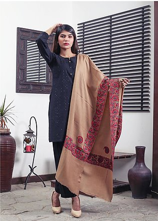 Sanaulla Exclusive Range Embroidered Pashmina Shawl 19-MIR-242 Brown - Kashmi...