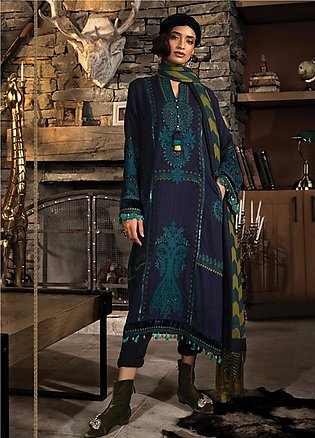 Maria B Embroidered Linen Unstitched 3 Piece Suit MB19W 3 - Winter Collection