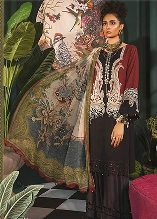 Maria B Embroidered Linen Unstitched 3 Piece Suit MBP19WE 703 B - Winter Coll...