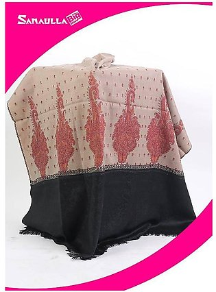 Beige Embroidered Pashmina Shawls for women - SW 239