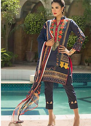 Nadia Hussain Embroidered Lawn Unstitched 3 Piece Suit NH19L 10 - Spring / Su...