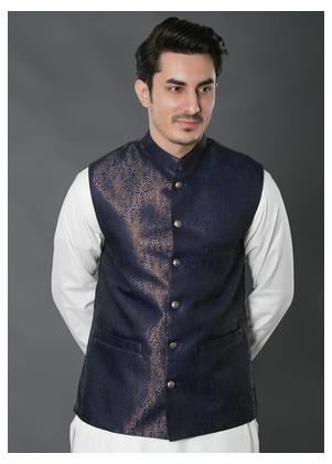 Real Image Jacquard Textured Waistcoats for Men - W-29 Blue