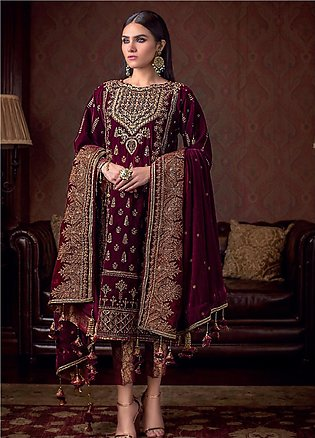 Gul Ahmed Embroidered Velvet Unstitched 3 Piece Suit GA19NC VLW 13 POLKI - Wi...