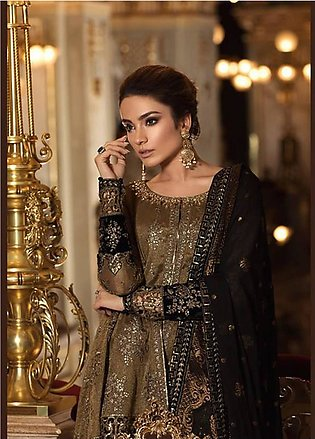 Maria B Embroidered Zari Net Unstitched 3 Piece Suit MB18-W1 08 - Wedding Col...