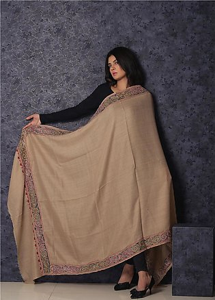 Sanaulla Exclusive Range Embroidered Pashmina Shawl 19-MIR-371 Fawn - Kashmir...