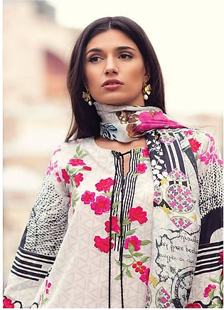 Mina Hasan Embroidered Lawn Unstitched 3 Piece Suit MH18L 8B - Festive Collec...