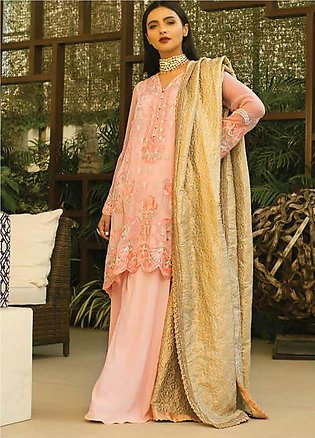 Mina Hasan Embroidered Chiffon Unstitched 3 Piece Suit MH20C 8 - Luxury Colle...