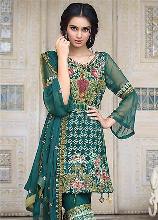 Motifz Embroidered Chiffon Unstitched 3 Piece Suit MTF19-C3 2256 GREEN BLOSSO...