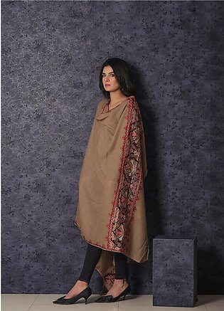 Sanaulla Exclusive Range Embroidered Pashmina Shawl 19-MIR-362 Fawn - Kashmir...
