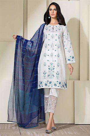 Kross Kulture Embroidered Lawn Stitched 2 Piece KE-20383 White