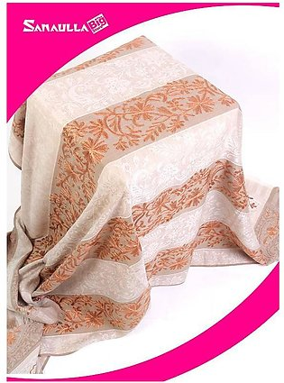 Beige Embroidered Pashmina Shawls for ladies - SW 259