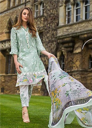 Mina Hasan Embroidered Lawn Unstitched 3 Piece Suit MH19F 3B - Festive Collec...
