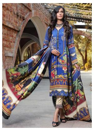 AMAL by Motifz Embroidered Linen Unstitched 3 Piece Suit AMT19LK 2403 Moon Mist - Winter Collection